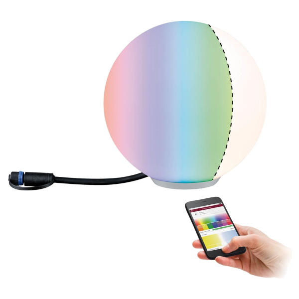 Paulmann SmartHome Plug & Shine Lichtobjekt Globe Kugel ZigBee RGBW IP65 24V 2,8 V Farbwechsel