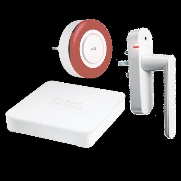 Smart Friends Starter Paket Sicherheit Gateway inklusive Funk-Alarmgriff Weiß und Innensirene