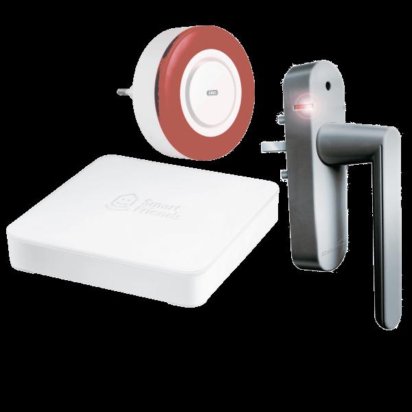 Starterpaket Sicherheit Gateway inklusive Funk-Alarmgriff Silber und Innensirene